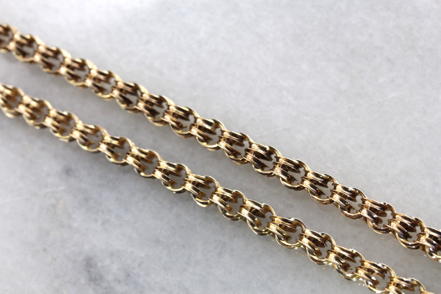 Long Antique Double Link Chain Necklace
