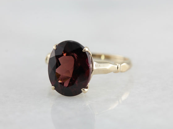 Raspberry Dravite Tourmaline Cocktail Ring, Lovely and Unusual Solitaire