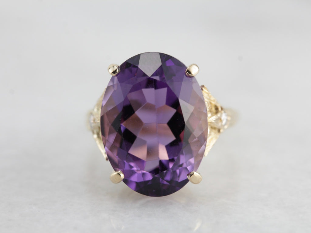 Amethyst Cocktail Ring with Sparkling Diamond Accents
