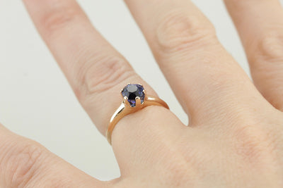 Benchmark Quality Ceylon Sapphire in Versatile Antique Gold Engagement Solitaire Ring