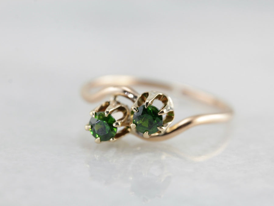 Antique Demantoid Garnet Bypass Ring, Toi et Moi Ring