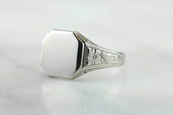 Forget Me Never: Vintage White Gold Signet Ring with Engraved Shoulders