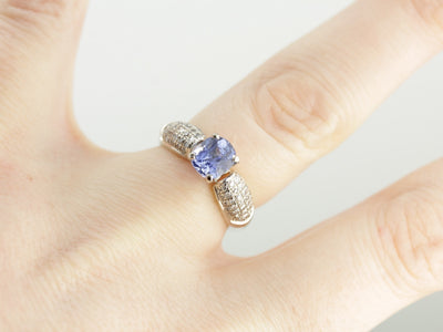 Modern Sapphire and Diamond Anniversary Ring