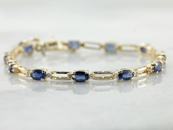 Sapphire and Rectangle Link Bracelet with Diamond Accents