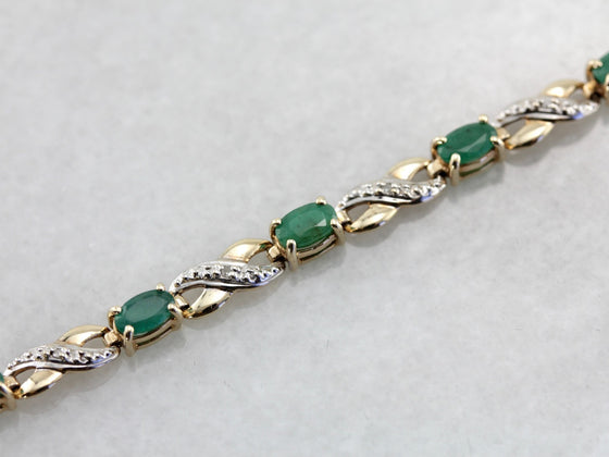 Infinity Link Emerald Tennis Bracelet in Yellow and White Gold