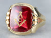 Red Glass Masonic Signet Ring