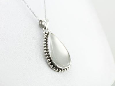 Moon Drop, Large Moonstone Teardrop Pendant