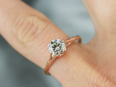 Antique Rose Gold Champagne Diamond Ring
