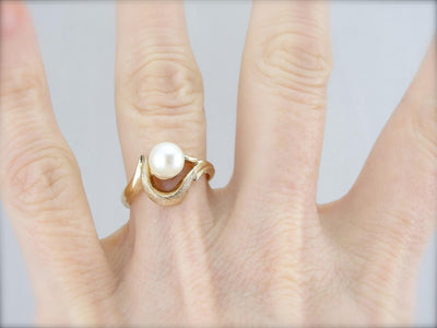 Vintage Pearl Ring with Textured Mounting