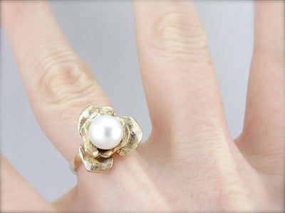 Whimsical Rose and Pearl Lady's Ring