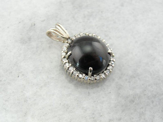Cat s Eye Sillimanite and Diamond Halo Pendant