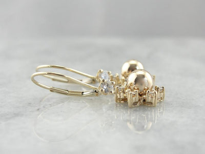 Golden Globe and Diamond Halo Drop Earrings