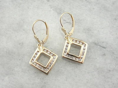 Diamond Drop Earrings with Modernist Style