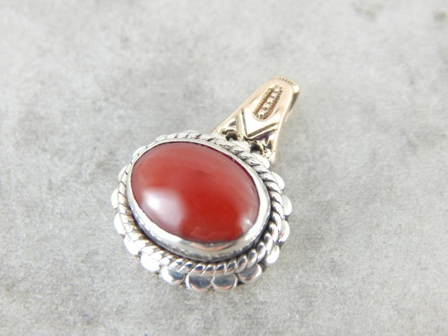 Brick Red Coral Gemstone Pendant with Victorian Rose Gold Bail