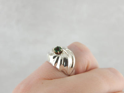 Teal Green Tourmaline and Sterling Silver Cocktail Ring