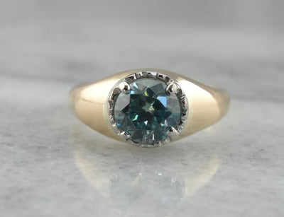 Bold Statement Ring with Blue Zircon for Gentleman or Lady