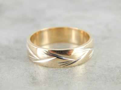 Etched Pattern Yellow Gold Wedding Band