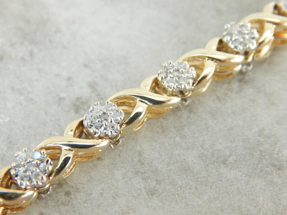 Diamond Cluster Hugs and Kisses Yellow Gold Bracelet