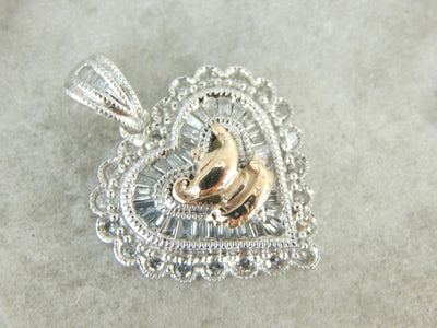 Diamond Heart Pendant with Golden Arabian Nights Lamp Center