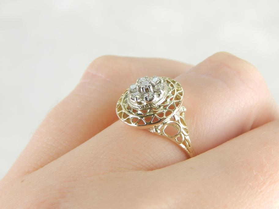 Green Gold Filigree and Diamond Cocktail Ring