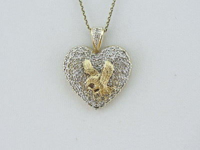 American Eagle and Diamond Heart Pendant