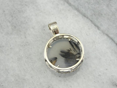 Montana Moss Agate and Diamond Halo Pendant