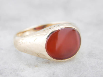 Curved Cut Carnelian Etched Yellow Gold Ring
