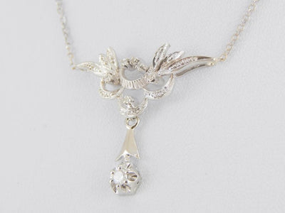 Vintage Diamond Drop Pendant Necklace, Beautiful Lines