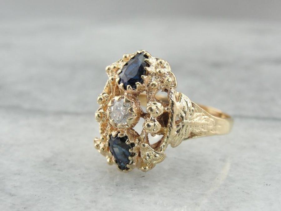 Ornate Sapphire and Diamond Dinner Ring with Georgian Influences