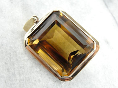 Bold Statement Smoky Quartz Pendant in Yellow Gold