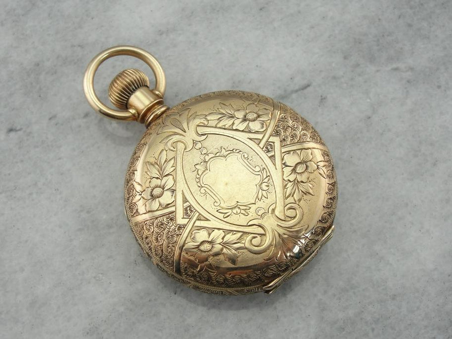 Beautifully Etched Victorian Pocket Watch by the Illinois Company