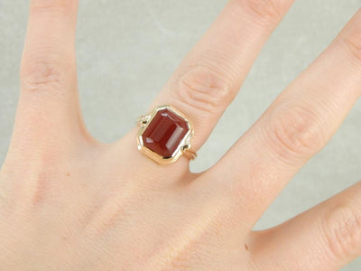 Retro Era Blood Orange Carnelian Cocktail Ring