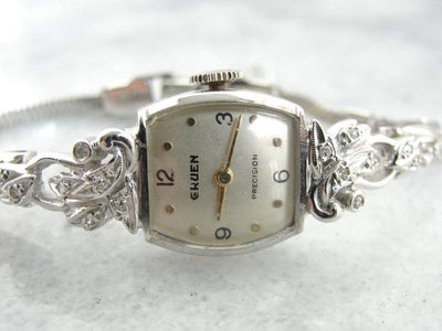 Antique White Gold and Diamond Gruen Women's Watch