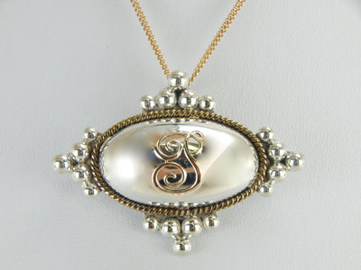 P Monogramed Brooch or Pendant in Silver and Gold
