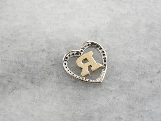 Diamond R Initial Heart Pendant in Yellow and White Gold