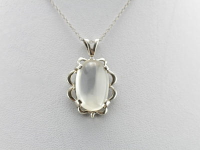Moonstone Pendant in Scalloped Sterling Silver Frame