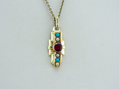 Ruby, Seed Pearl and Turquoise Pendant, Upcycled Vintage Retro Pendant, Ruby Layering Pendant