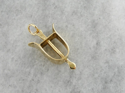 Equestrian Keepsake, Yellow Gold Riding Stirrup Charm Pendant