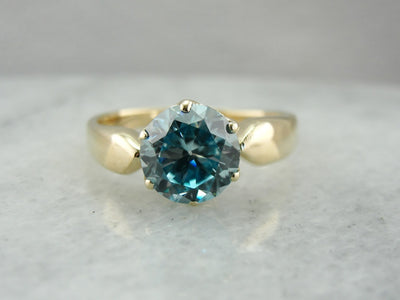 Blue Zircon Cocktail Ring in Modern Yellow Gold
