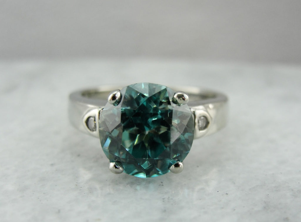 Blue Zircon Solitaire in Modern White Gold Mounting