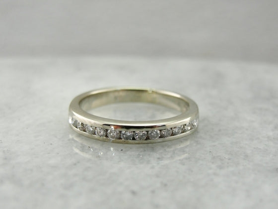 White Gold and Diamond Channel Set Wedding Band