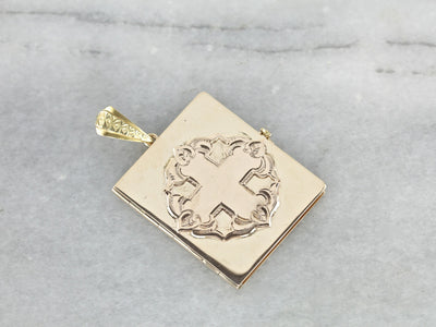 Vintage Gold Engraved Bible Locket