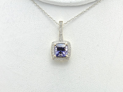 Contemporary Tanzanite Halo Pendant