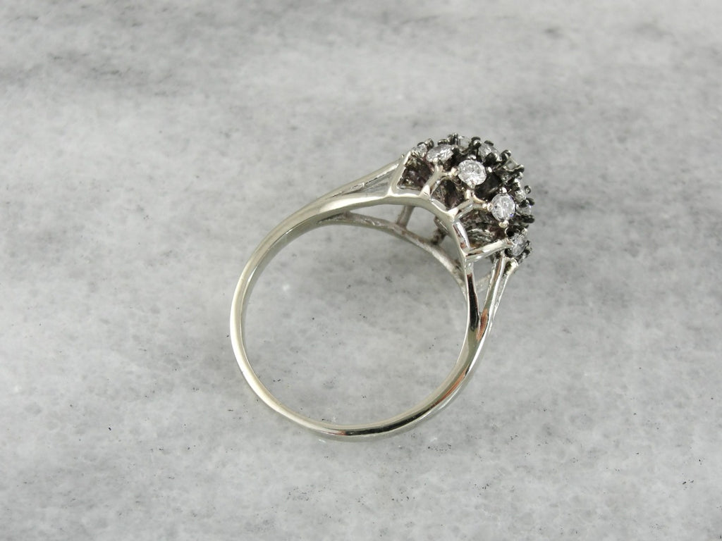 Atomic Era, Vintage Diamond Cocktail Ring