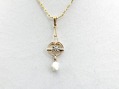 Antique Diamond and Pearl Lavalier
