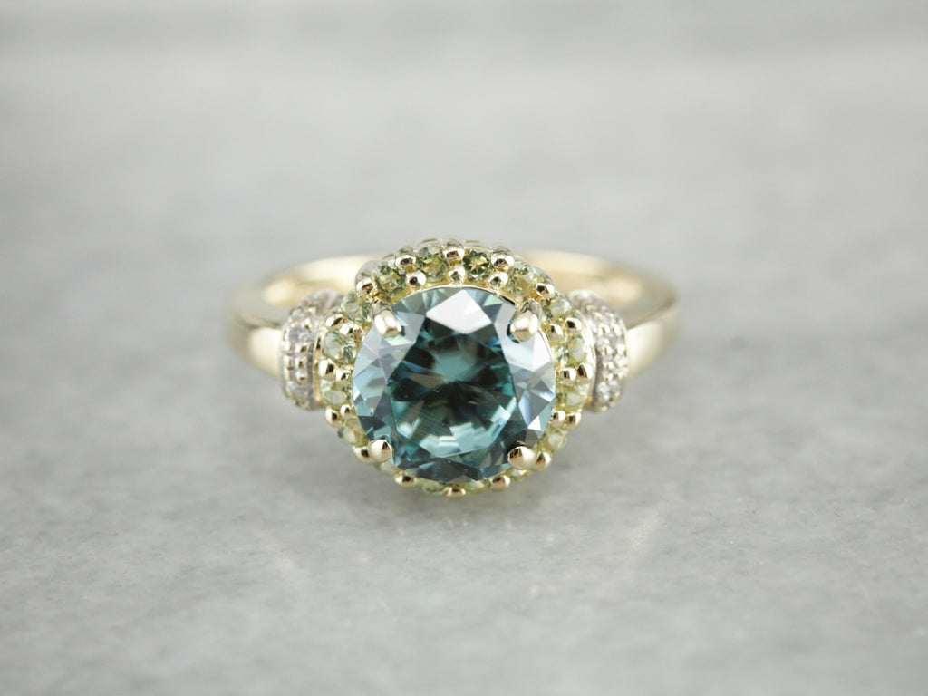 Pretty Blue Zircon and Yellow Quartz Cocktail Ring