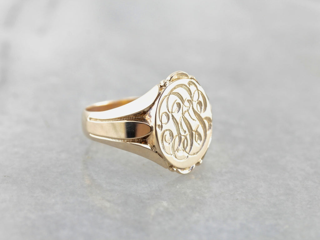 Antique Yellow Gold Signet Ring with Original Engraving