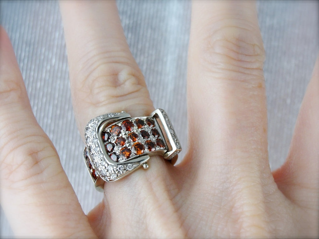 Sparkling Orange and White Diamond Belt Buckle Ring