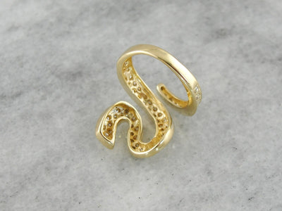 Stylized Diamond Serpent Cocktail Ring