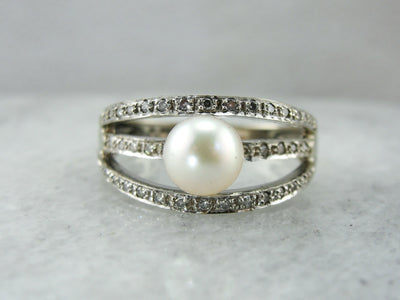 Modern Pearl and Diamonds Triple Band Cocktail Ring